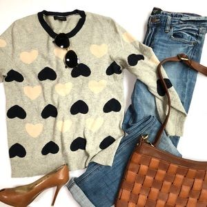 J Crew heart knit sweater and J Crew jeans set